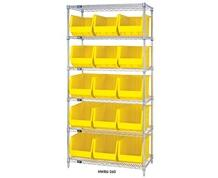 CHROME WIRE SHELVING UNITS WITH ULTRA BINS